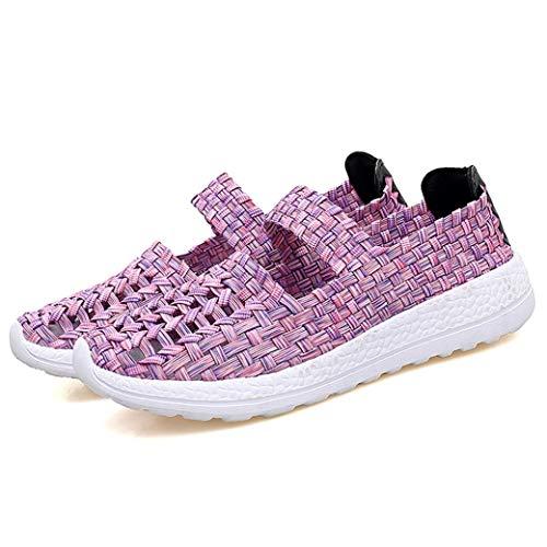 Zapatillas Planas para Mujer Color Mezclado Tejido Ahuecado Tejido elástico Banda elástica Bajo Top Primavera Verano Transpirable Ligero Señoras Zapatos Casuales ✅