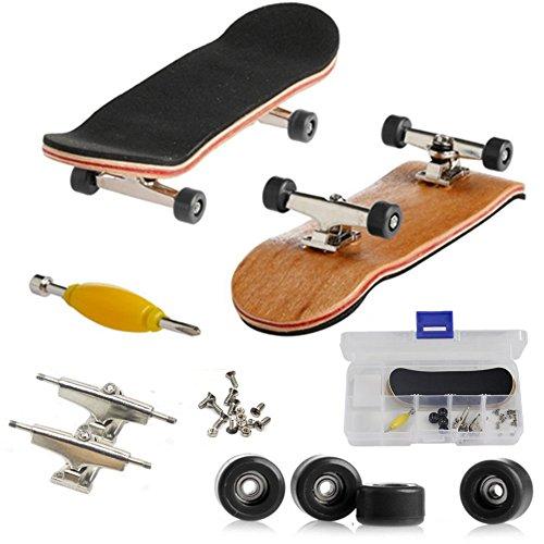 AumoToo Mini-Griffbrett, Professionelle Finger Skateboard Ahorn Holz DIY Montage Skateboarding Spielzeug Sport Spiele Kinder (Schwarz)