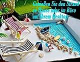 Strand-Mikrolandschaft Miniliegestuhl Strandkorb Sonnenschirm Kleine Palme Deko Accessoires, 16 Stück Miniatur-Ornament-Set für DIY Fee, Garten, Puppenhausdekoration, Einzigartiges Geschenk - 3