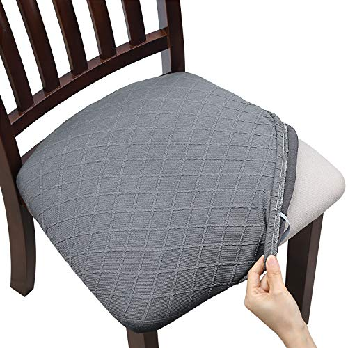 Fuloon 6 Pack Stretch Jacquard Chair Seat Covers, Removable Washable Anti-Dust Dinning Room Chair Seat Cushion Slipcovers (6, Light Grey)