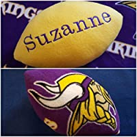Personalized Handcrafted Fleece Fabric Soft Football Collectible Pillow Toy Plush Stuffed Indoor Ball Made Using Minnesota Vikings Fabric