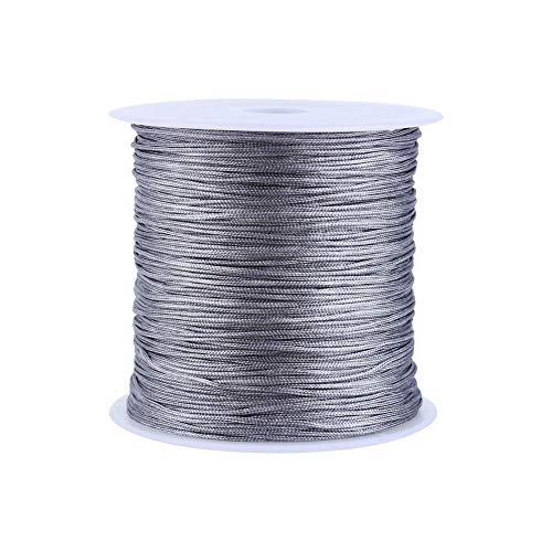 Gray 100m X 0.8mm Nylon Chinese Knot String Chinese Knot Cord Rattail Macrame Shamballa Thread String for Crafts Making Bracelets Necklace Keychain Beading