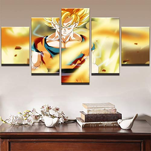 Wall Art Modern Decoratief Frame Canvaskunst Schilderij Kinderkamer Poster 5 Panel Cartoon Ball HD Print Pictures