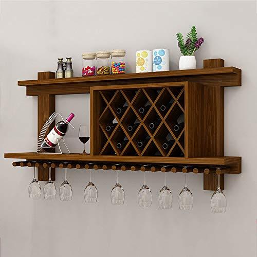 KFDQ Bastidores de vino Estante de vino Montado en la pared Mdf de madera Gabinete creativo Rejilla colgante Soporte de botella de vino Gran estante de copa de vino Cubilete Bastidores de vajilla Dec