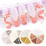Nail Art Rhinestones Kit 3D Crystal Caviar Beads for Nails Supply 4 Boxes Mix Metal Rhinestones AB Pearl Glass Gems for Nail Art Decorations Manicure Tips Charms Gold Silver White Color Set