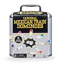 GREAT FOR ON-THE-GO FUN: This set of double 12 Dominoes comes in a sleek, stylish aluminum carry case and has everything you need to play. The sturdy aluminum case makes it easy and safe to transport. EDUCATIONAL AND EXCITING FOR THE ENTIRE FAMILY: H...