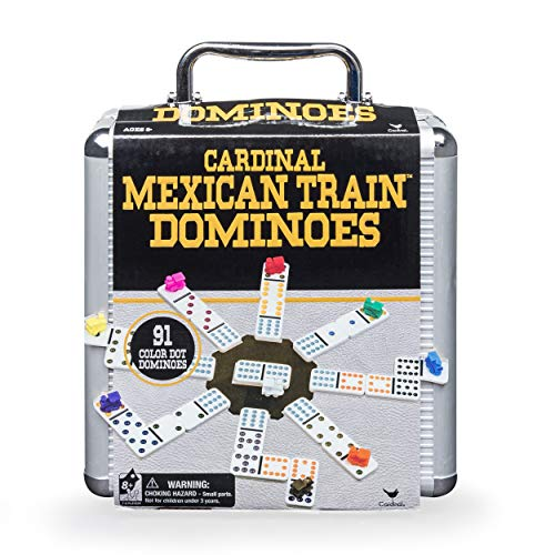 Cardinal Industries Mexican Train Domino Game with Aluminum Case Game, Basic (6030756)