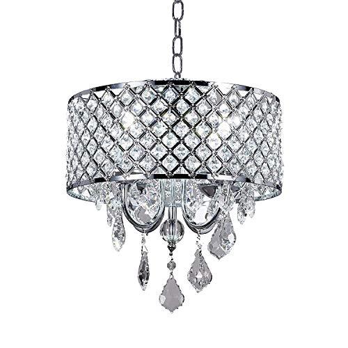 RUCHUFT Silber Klassische Kristall Kronleuchter Moderne Lampen Pendelleuchte Deckenleuchte BL-Aja/S4 W14 X H14 Zoll