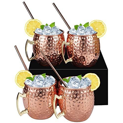 YDH Juego de 4 vasos – Incluye 4 vasos de cobre de 350 ml, 4 pajitas, vasos de cobre forjados y hechos a mano, cerveza, ginebra, vodka, cócteles y agua.