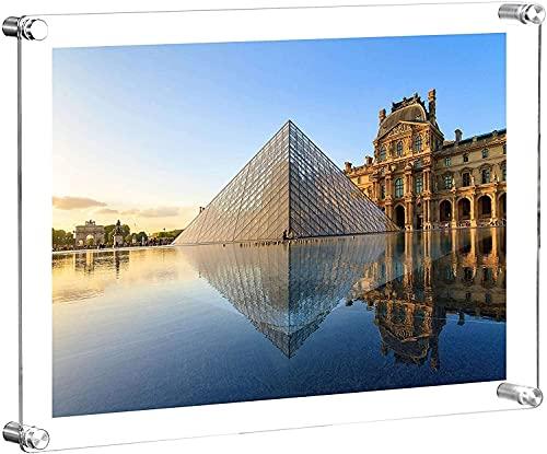 アクリルフォトフレーム 写真立て A4サイズ 写真フレーム 装飾用フレーム 両面透明 縦横兼用 写真飾り スタンドタイプ 賞状 認定書 切り絵 標本 雑誌 (透明) (A4)