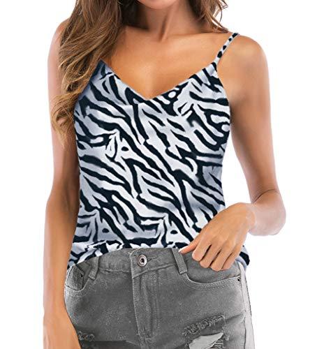 Women's Camis Top Backless Sleeveless Blouses Tank Shirts (Zebra, US 2-4)