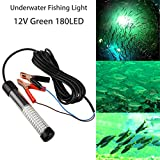 12V 14W 180LED 1300 LumensLED Lure Bait Finder Night Fishing Finder Crappie Shad Boat LED Submersible Underwater Light with Battery Clip and Power Plug 6m Power Cord