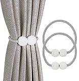 2 Piezas de Cortina Magnética Tiebacks Cortinas de Perlas Clips Cuerdas Adsorción Conveniente para el Hogar, la Oficina, la Decoración de Ventanas de Hotel-(Gris)