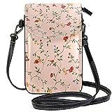 Lawenp Bolso bandolera de cuero pequeño con flores rojas, billetera con bloqueo RFID, monedero, bolsos de teléfono para viajes, niñas, mujeres
