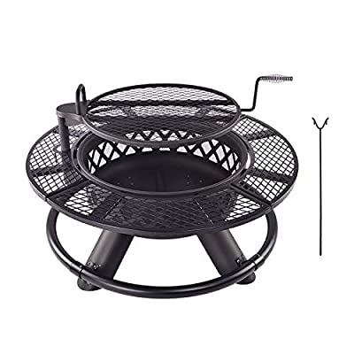 Kapler Fire Pit Outdoor Patio Fire Steel BBQ Grill Fire Pit Bowl with Mesh Spark Screen Cover, Log Grate, Poker for Camping Picnic Bonfire Beaches Park Patio Backyard