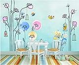 Papel tapiz fotográfico Jaula de pájaros de flor de dibujos animados rosa azul 300x210 cm -6 pieces Lana Decoración De Pared Sala Cuarto Papel pintado tejido no tejido Decoración de Pared decorativos