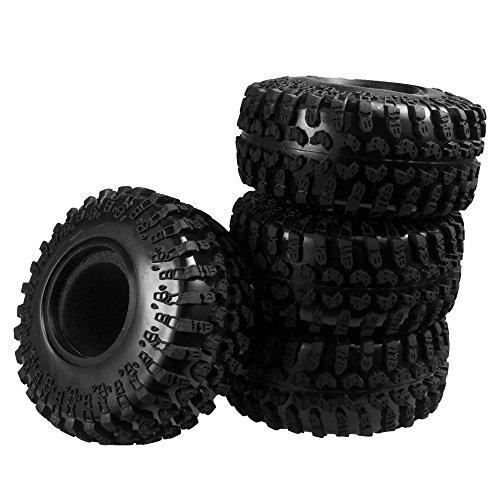 XUNJIAJIE 4 Stück 2.2inch 130mm RC Reifen Gummi Pneu Tires Tyre für 1/10 Crawler Auto Axial Wraith 90018