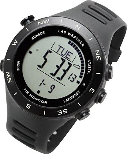 [ラドウェザー]ランニングウォッチ 心拍計 USB充電 速度計 歩数計 気圧計 高度計 コンパス アウトドア腕時計 スポーツ時計 (ブラック(反転液晶)) (ブラック(通常液晶))