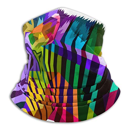 Zebra Colorful Animal - Polaina para el cuello de microfibra multifuncional a prueba de polvo, color negro