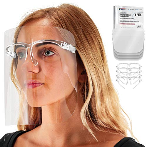 TCP Global Salon World Safety Face Shields with All Clear Glasses Frames (Pack of 4) - Ultra Clear Protective Full Face Shields to Protect Eyes, Nose, Mouth - Anti-Fog PET Plastic, Goggles