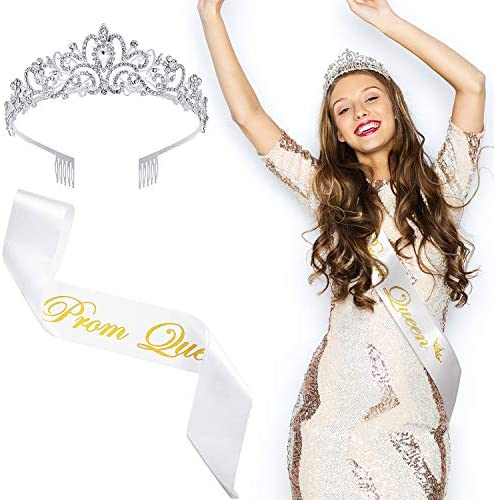 WILLBOND 2 Pieces Prom Queen Satin Sash Prom Sash Rhinestone Crystal Tiara Crown with Comb for product image