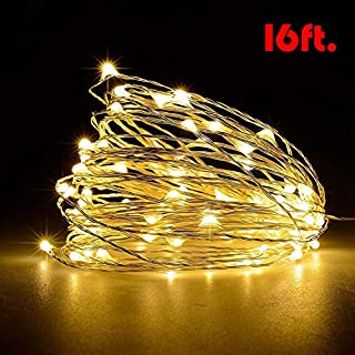 Ariceleo USB LED Twinkle Fairy String Light, 1 Pack Copper Wire Fairy Lights for Indoor, Bedroom Festival Christmas Wedding Party Patio Decorative Window with USB Interface (16ft./5M,Warm White)