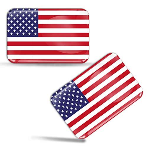 Biomar Labs® 2 x Aufkleber 3D Gel Silikon Stickers USA Vereinigte Staaten Amerika America United States Flagge Fahne Flag Auto Motorrad Fahrrad Fenster Tür PC Handy Tablet Laptop F 44