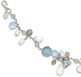 925 Sterling Silver Lace Agate/opalite Crystal/amazonite/Freshwater Cult.pearl Bracelet 7.5 Inch Gemstone Pearl Fine Jewelry Gifts For Women For Her