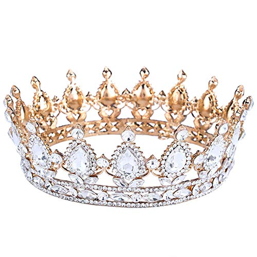 FUMUD Pageant 2 Full Round Rhinestone Crystal CrownTiara Sapphire King/Queen Crown Gold Plated Party Jewelry (1#)