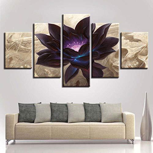 LIVELJ Puzzle Gift Abstract Magic Glowing Black Lotus 5 Piezas HD Art Wall Decoración para el hogar Canvas Printing Frame Tamaño Total: (H-80 cm x M/B-150 cm)