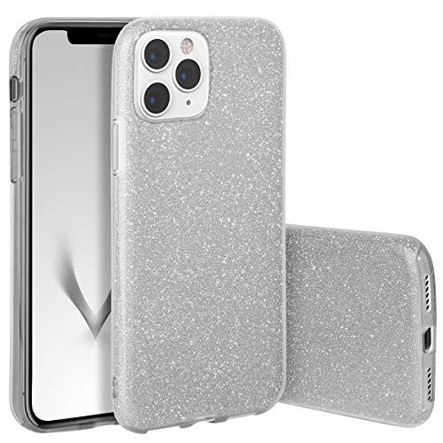 QULT Handyhülle kompatibel mit iPhone 11 Pro Hülle Glitzer Silber glänzend TPU Tasche iPhone 11 Pro Case Silikon Bumper Case mit Glitter Design Sparkles Silver