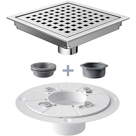 USHOWER 6-Inch Square Shower Drain, 304 Stainless Steel Brushed Nickel Shower Floor Drain, Includes Drain Flange Kit