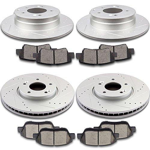 SCITOO Brake Kit Drilled and Slotted Brake Rotors Discs and Ceramic Brake Pads for 2009-2015 Hyundai Sonata,2011-2013 Kia Optima