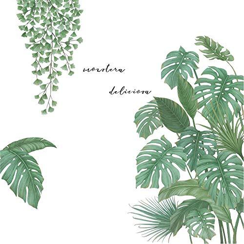 YXHZVON Pegatinas de Pared Papel Pintado Hojas Tropicales, Planta Tropicales Vinilos Decorativos Pared Sala Habitación Dormitorio Oficina