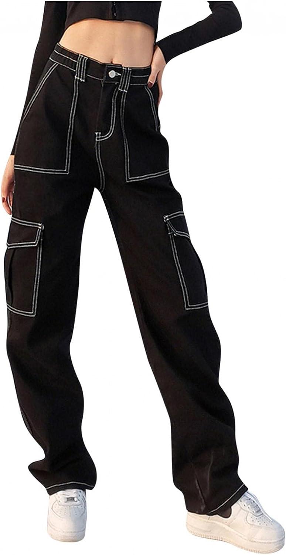 Aiouios High Waisted Jeans for Women Y2K Fashion Baggy Boyfriend Straight Jeans Stretch Wide Leg Denim Pants Trousers