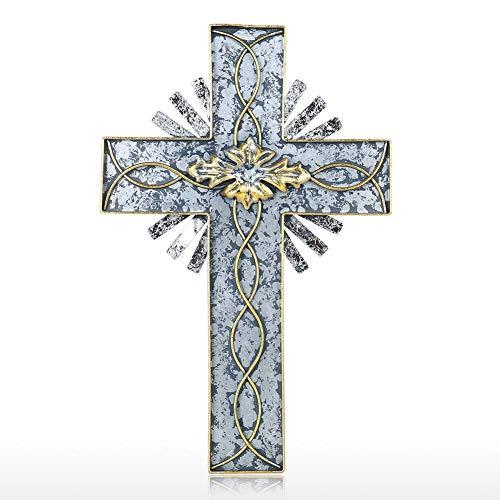 BONAH Diseño Creativo 3D Arte De Pared De Metal Cruz Religiosa Decorativa Crucifijo Colgante De Pared Esculturas De Arte Hierro Forjado para Decoración del Hogar