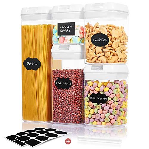 Qissep Stapelbare Vorratsdosen & Frischhaltedosen Set 5 Stück, BPA Frei, Frischhaltedosen mit Deckel, Lagerbehälter für Getreide Nüsse Trockenvorräte