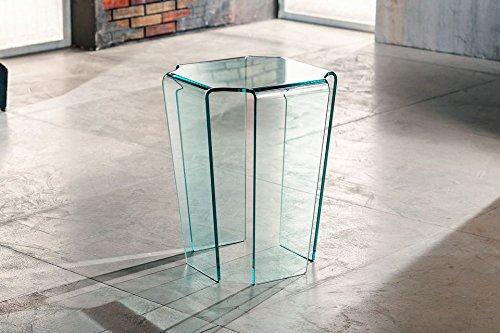 IMAGO FACTORY Fjord - Tavolino servetto - Tavolo Lampada in Vetro curvato