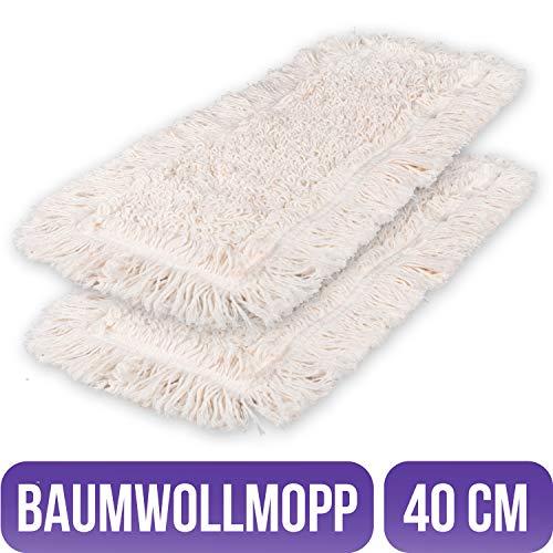 Filzada 2X Wischbezug Baumwolle 40 cm - Hochwertiger Baumwollmopp Für Alle Bodenbeläge - Strahlender Glanz Garantiert