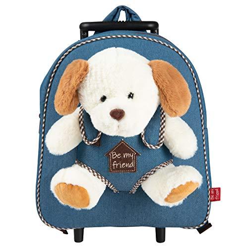 PERLETTI Plüschtier Hund Kindergepäck Rucksack Kinder - Kinderrucksack mit Abnehmbaren Rädern und Kuscheltier Welpe Plüschhund - Kindergarten Rollrucksack Kleinkinder 2/5 Jahren - 28x32x11 cm (Hund)