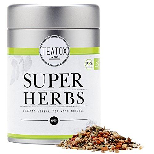 TEATOX Super Herbs, Bio Kräutertee mit Moringa und Spirulina (Dose)