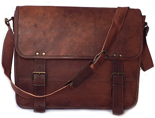 Vintage Couture 16 Inch Genuine Business Leather Laptop Messenger Bag