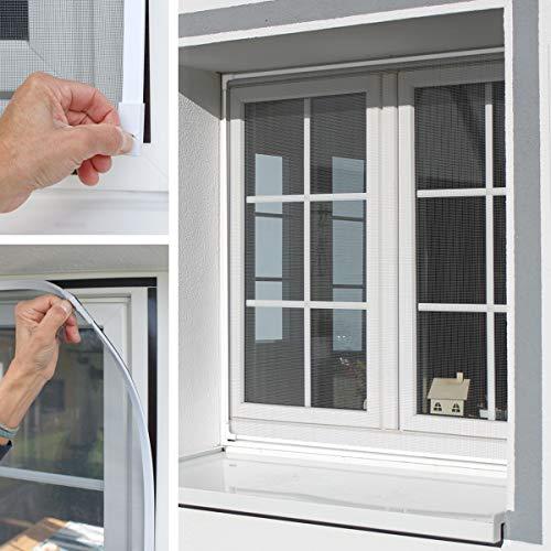 ECD Germany Insektenschutz Magnetfenster 130 x 150 cm aus PVC und Fiberglasgewebe Weiß werkzeugfreie Montage waschbar wasserdicht - Magnet Rahmen für Fenster Fliegengitter Mückengitter Fliegenschutz