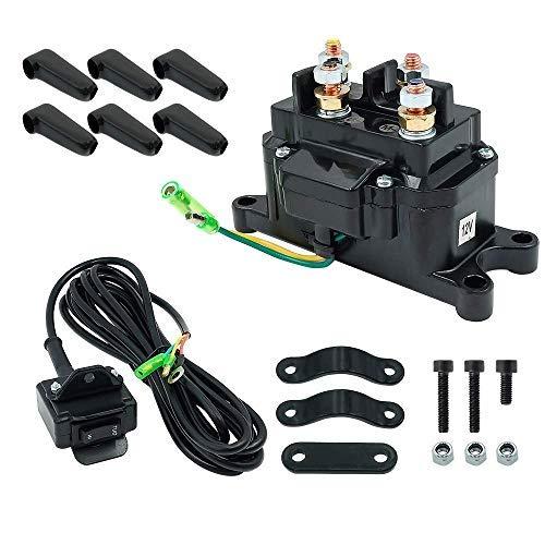 12V Solenoid Relay Contactor & Winch Rocker Thumb Switch Combo for ATV UTV Kit