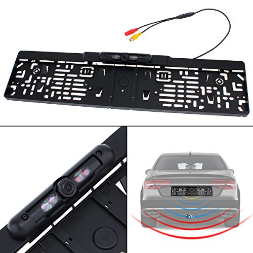 Auto Parktronic EU de voiture Cadre de plaque d'immatriculation Caméra de recul Night Vision inversée Caméra de recul avec 4 lumière IR