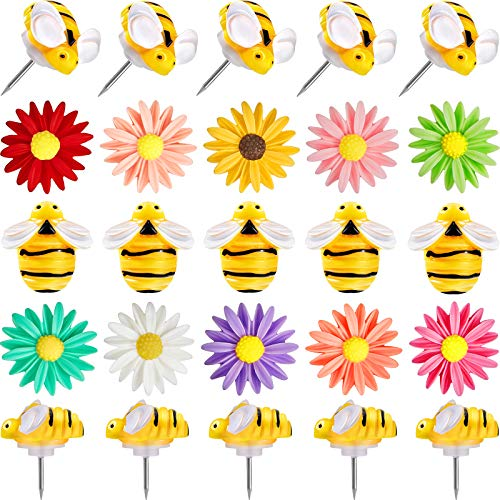40 Pezzi Puntine da Disegno di Fiori Puntine da Disegno di Api Perni Decorativi Carini Puntine da Disegno Creative per Bambini, Lavagna, Corkboard, Albo, Ufficio o Decorazioni per la Casa