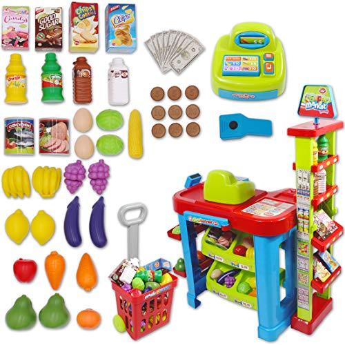 deAO Supermercado Tienda Supermarket Mercado con Carrito de la Compra, Scanner, Caja Registradora y Accesorios Includos