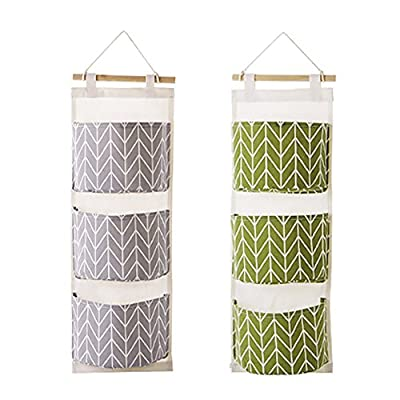 Over The Door Closet Organizer, 2 Packs Wall Hanging Storage Bags with 3 Pockets for Bedroom & Bathroom (Green + Gray) by MF2FLAY