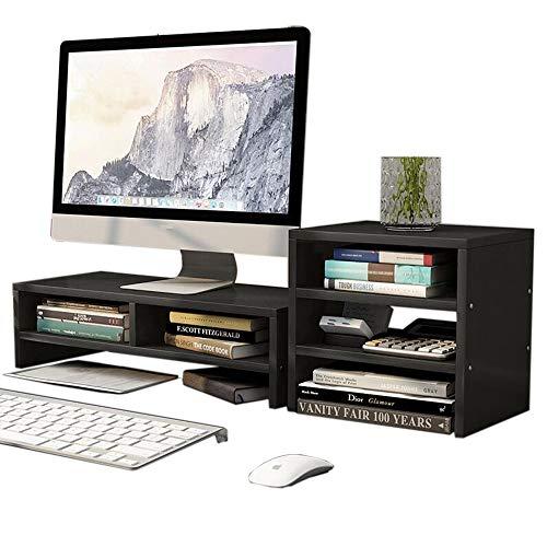 JCNFA Planken Desktop Monitor Verhoogde Display Stand Lift Combinatie Stijl Met Toetsenbord Opslagruimte, 2 Kleuren