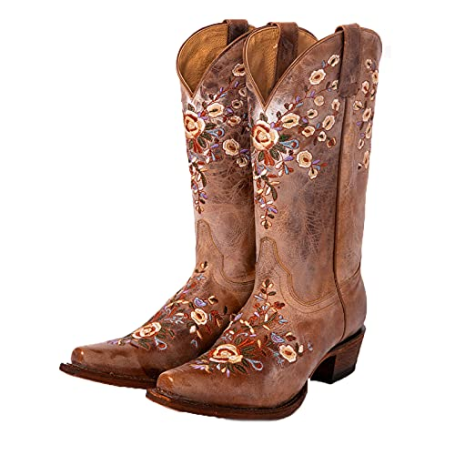 Erocalli Women's Western Boots Chunky Heel Cowgirl Cowboy Mid Claf Boot Square Toe Embroidery Riding Boots